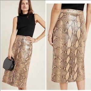 Anthropologie Current Air Faux Snake Pencil Skirt